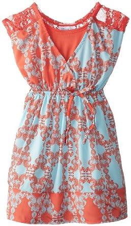 Bonnie Jean Big Girls' Sleeveless Crossover with Lace Shoulder Yoke, Orange, 10