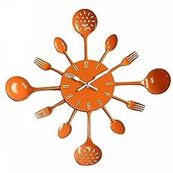YESURPRISE 15.8 Kitchen Housewares Wall Clock Cutlery Fork & Spoons Decorative Clock Orange