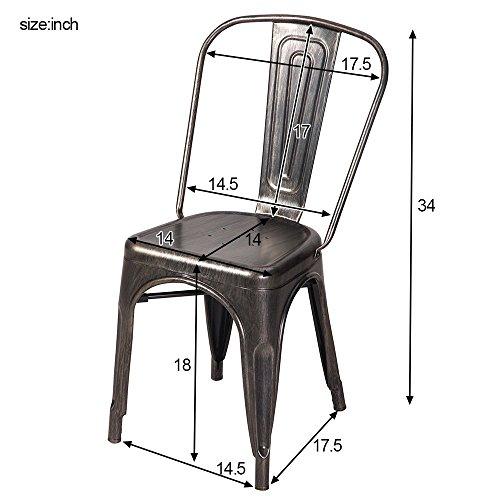 Merax High Back Steel Stackable Vintage Metal Dining Chair, Golden Black (Set of 2) 2