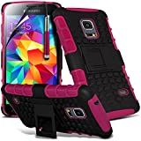 ( Hot Pink ) Samsung Galaxy S5 Mini Case Tough Survivor Hard Rugged Shock Proof Heavy Duty Case W/ Back Stand, LCD Screen Protector Guard, Polishing Cloth & Mini Retractable Stylus Pen by ONX3