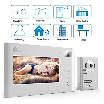 "[Upgrade Version] 1byone 7"" Color LCD Wired Video Doorbell, Video Intercom Rainproof Door Phone Home Security - 1 Camera + 1 Monitor"