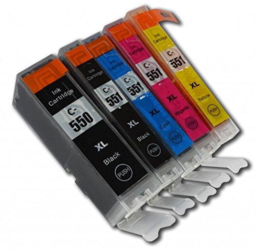 Prestige Cartridge PGI-550XL/CLI-551XL Cartucce d'Inchiostro Compatibile per Stampanti Canon Pixma Serie, 5 Pezzi, Nero/Nero Foto/Ciano/Magenta/Giallo
