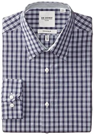 Ben Sherman Men's Check Dress Shirt, Blue, 17.5 Inch x 36/37 Inch