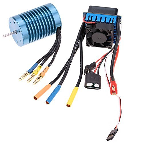 GoolRC 3650 4370KV 4P Sensorless Brushless Motor with 45A Brushless ESC(Electric Speed Controller)for 1/10 RC Off-Road Car (540 Brushless Motor compare prices)