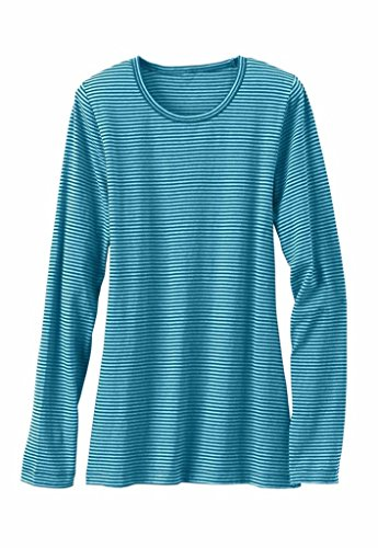 Beyond Scrubs Women's Micro Long Sleeve Underscrub Tee M Navy/ Aqua