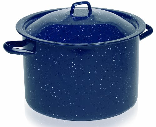 IMUSA USA C20666-10636W Enamel Stock Pot, 7.75-Quart, Blue