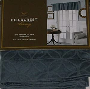 Fieldcrest Luxury Blue Window Valance Matelasse Curtain Topper