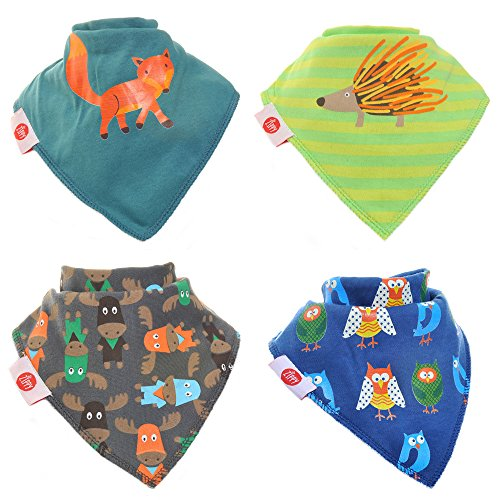 Zippy Fun Baby Bandana Drool Bibs (4 Pack Gift Set) Woodland Animals