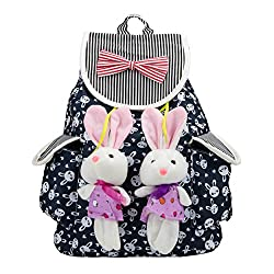 SLectionAccess Cute Lightweight Girl's Canvas Bunny Kids rucksack Backpack, Navy Blue (BKPLEA101)