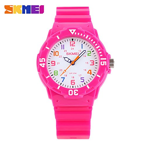 Children Waterproof Jelly Sports Quartz Watch Rose Red (Waterproof Jelly Watch compare prices)