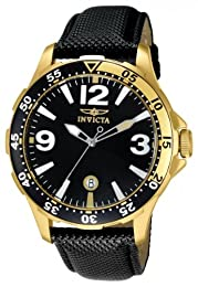 Invicta Specialty Men's Quartz Watch with Black Dial  Analogue display on Black Leather Strap 12123