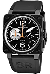 Bell & Ross Men's BR-03-94-BLACK WHITE Aviation Black Chronograph Dial Watch Watch