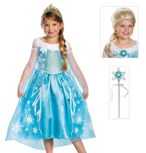 Disney Frozen Deluxe Elsa Costume with Tiara, Wand and Wig