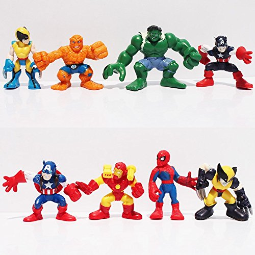8pcs/set Marvel Q The Avengers Mini Iron Man Spider Man Captain America Hulk PVC Action Figure Collectible Model Toy