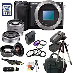Sony Alpha NEX-5R Mirrorless Digital Camera Double Lens Kit with 18-55mm f/3.5-5.6 E-mount Zoom Lens & E-Mount 16mm f/2.8 Wide-Angle Alpha E-Mount Lens. Also Includes: 0.45X Wide Angle Lens, 2X Telephoto Lens, 3 Piece Filter Kit(UV-CPL-FLD), 4 Piece Macro Filter Set(+1,+2,+4,+10), 32GB Memory Card, Memory Card Reader, 2X Extended Life Replacement Batteries, Rapid Travel Charger, HDMI Cable, Carrying Case, 72