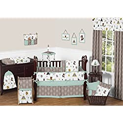 Sweet Jojo Designs Outdoor Adventure Nature Fox Bear Animals Boys Baby Bedding 9 Piece Crib Set