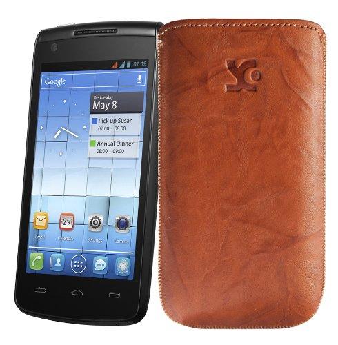 Original Suncase Tasche fuer / Alcatel One Touch 992D (Dual-Sim) / Leder Etui Handytasche Ledertasche Schutzhuelle Case Huelle - Lasche mit Rueckzugfunktion* In Wash-Braun