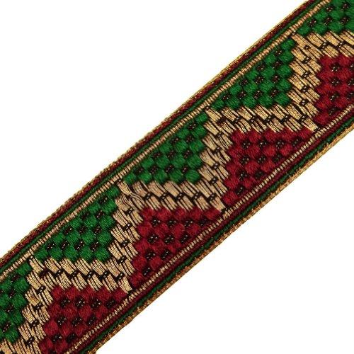Red Green Jacquard Ribbon Trim Decorative Border Lace Sewing Craft India 4.5Yd
