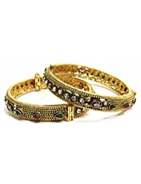 Shingar Jewellery Ksvk Jewels Antique Gold Plated Bangles Set For Women (5924-m-P)