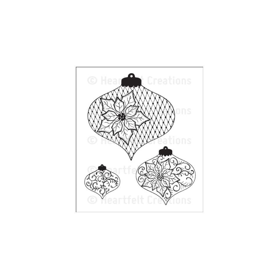 Heartfelt Creations Cling Rubber Stamp Set 5x6.5-poinsettia /& Holly