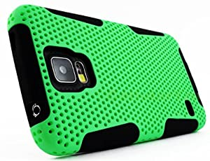 myLife Bright Spring Green and Deep Black - Perforated Mesh Series (2 Layer Hybrid) Slim Armor Case for the NEW Galaxy S5 (5G) Smartphone by Samsung (External Rubberized Hard Shell Mesh Piece + Internal Soft Silicone Flexible Gel)