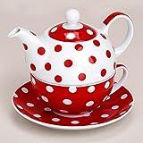Matches21-Tea-For-One-Thire-avec-tasse-et-soucoupe-en-porcelaine-Rouge--pois-15-x-14-cm