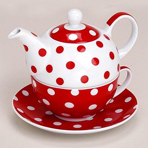 Matches21 Tea For One Théière avec tasse et soucoupe en porcelaine Rouge à pois 15x14cm