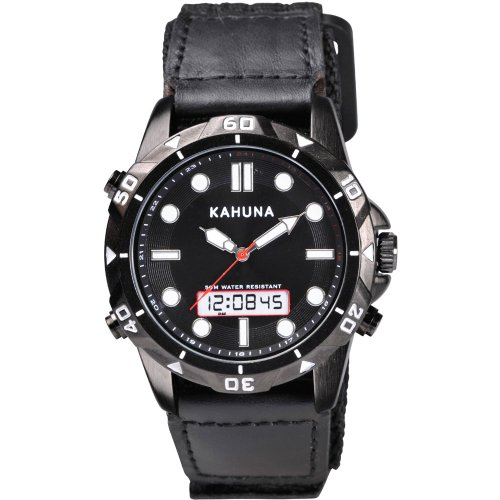 Kahuna Men's Quartz Watch with Black Dial Analogue - Digital Display and Black Fabric and Canvas Strap K6V-0008G
