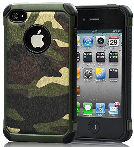 iPhone 4 Case,iPhone 4s Camo Case Defender Shockproof Drop proof High Impact Armor Plastic and Leather TPU Hybrid Rugged Camouflage Cover Case for Apple iPhne 4 / 4s Green (Camo Iphone 4 Covers compare prices)