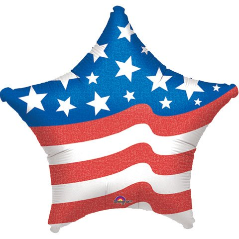 32 Inch Patriotic Star Shape Balloon