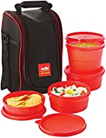Cello Max Fresh Super Polypropylene Lunch Box Set, 4-Pieces, Red