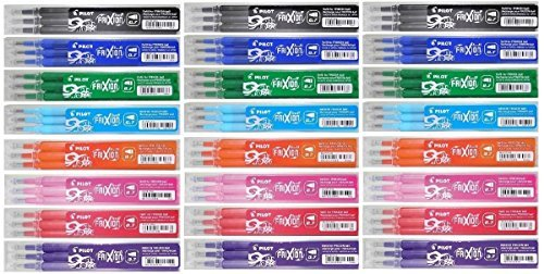 Pilot Frixion Ball Lot de rechange Stylos Frixion Ball Stylo roller effaçable Recharges pour stylo encre BLS-FR7couleurs assorties (3de chaque couleur-24paquets de recharge-Noir, Orange, Bleu, Vert, Violet/Violet, Rose, Bleu clair et rouge)