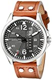 """Stuhrling Original Mens 699.02 """"Aviator"""" Stainless Steel Watch with Beige Leather Band"""
