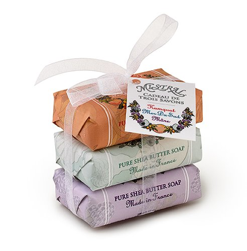 Mistral Soap Pack with a Bow, 3 - 100 g paper wrapped soaps: Kumquat Pink Grapefruit, South Seas, Wild Blackberry - Buy Mistral Soap Pack with a Bow, 3 - 100 g paper wrapped soaps: Kumquat Pink Grapefruit, South Seas, Wild Blackberry - Purchase Mistral Soap Pack with a Bow, 3 - 100 g paper wrapped soaps: Kumquat Pink Grapefruit, South Seas, Wild Blackberry (Bath & Shower)