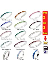3mm Stackable Plating Silver Eternity Band Ring w/ Colored Crystals Birthstones (7, July Ruby)