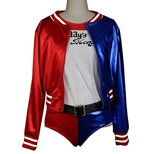 RedAnime Suicide Squad Harley Quinn Cosplay Costume Jacket Halloween Outfit Suit, X-Large