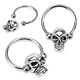 Pair of Skull Nipple Rings 14g Captive Bead Rings 316L Surgical Steel - Sold as Pair