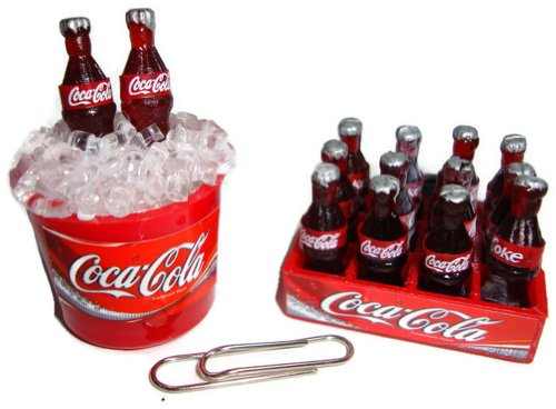 Coca Cola Cokei Collectables Dollhouse Miniature Fridge Magnet 2 Pcs/Set Ice Bucket & Crate Coca Cola Fridge front-423273
