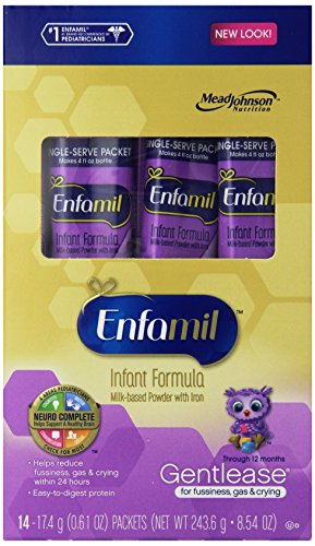 Enfamil Gentlease Infant Formula Milk-Based Powder with Iron, Single Serve Packets, 14 Count-8.54oz Total (Packaging May Vary)