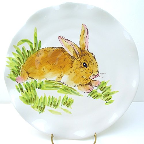 mxWT4d Maxcera Watercolor Bunny Rabbit Dinner Plate, Set of 4, Easter