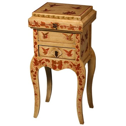 Cheap EXP Handmade 31″ Antique-Style Red & White Wood Accent / End Table With Red & Gold Butterflies (B0015H296K)