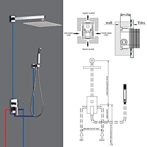 Rainfall Shower System, STARBATH Wall Mounted Shower Set for Bathroom with 12'' Shower Head and Handheld Mixer Shower Combo Set, Shower Faucet Rough-in Mixer Valve and Trim Included(Chrome) (Color: Chrome, Tamaño: 12 Inch)