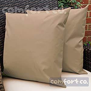 Waterproof Garden Cushions for Chairs - Fibre Filled Cushions for Seats and Benches - Colourful Outdoor Cushion (1, Beige) from Comfort Co®