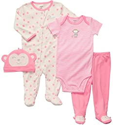 Carter\'s Baby Girls\' 4-Piece Layette Set - Pink Monkey - 9 Months