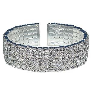 Elektra: Sparkling 5 Row Swarovski Austrian Crystal Rhinestone Flexible Spring Cuff Bracelet, Bin 29
