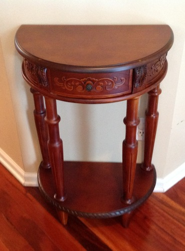 carved wood small half moon wall table end tables. Black Bedroom Furniture Sets. Home Design Ideas
