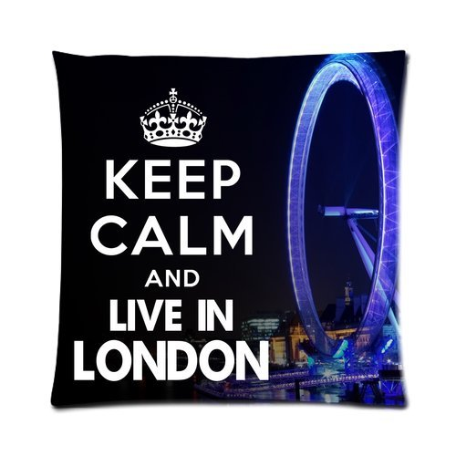"""Keep Calm And Live In London Beautiful London Eye Custom Zippered Pillow Cushion Case Throw Pillow Covers 16""""X16""""(Two Sides) front-916441"""