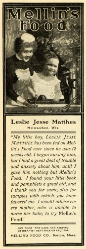 1902 Ad Mellins Baby Food Maid Child Leslie Jesse Matthes Milwaukee Wisconsin - Original Print Ad front-1018747