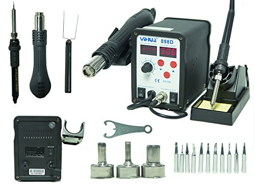 Best Buy! 2-in-1 SMD Hot Air Rework Station & Soldering Iron w/ 11 Tips, 3 Nozzles LED Screen Profes...
