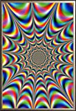 Fractal Illusions Trippy  24x36 Dry Mount Poster Gold Wood Framed